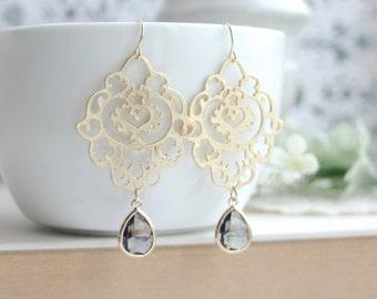 Grey Gold Moroccan Gypsy Filigree Chandelier Earrings. Bridesmaid Gifts. Boho Summer Wedding. Best Friends. Grey Wedding, Birthday Gift, Sis