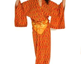 Orange Kimono Vintage Japanese Ikat Robe Asian Robe