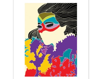 Volta Print // Bjork Print // Bjork Illustration // Portrait // Colourful Print