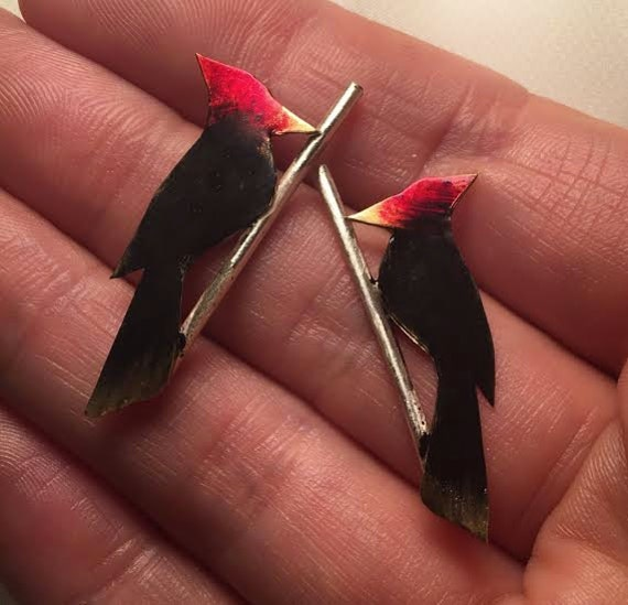 Woodpecker on a twig - post earrings