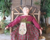 Primitive Folk Art Doll Lady Clay Sculpted Head  Cloth Soft Sculpture Sitter &Cross Stitched Ditty Bag Burgundy Green ofg hafair faap CIJ