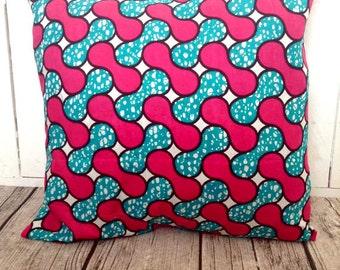 African Throw-pillow, African wax print, Pink and Blue Throw pillow cover  (17 inch) throw pillow