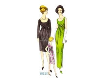 Vintage 60s Vogue Dress Pattern 6119, Empire Waist, Scoop Neck, Two Lengths, Bust 34, Gorgeous Cocktail Evening Dress, Easy Sewing Pattern