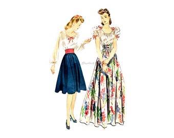 1940s Full Skirt and Peasant Blouse Pattern Simplicity 4262, Bust 32, Day Evening Romantic Fashion Vintage Easy Sewing Pattern
