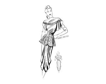 1940s Dress Pattern Vintage Modes Royale Pattern 326, Peplum Top, Straight Skirt, Draped Overskirt, Elegant Couture Dress