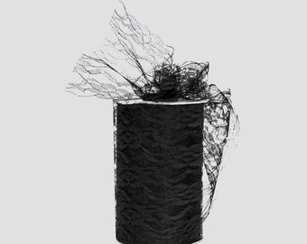 Lace Tulle Ribbon Spool, Black, 3 or 6 inches wide, 25 yards