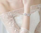 Bridal Bracelet , Pearl Cuff  Bracelet , Swarovski White Opal Wedding Bracelet  , Freshwater Pearl Ivory Bracelet ,Bridal Jewelry