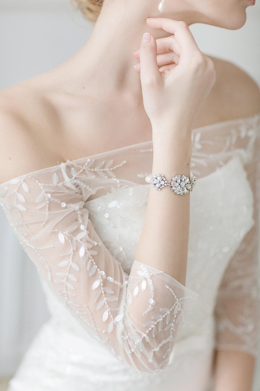 Bridal bracelet pearl cuff bracelet swarovski white opal for Bracelet for wedding dress