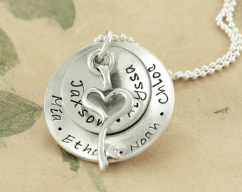 Key to My Heart - Personalized Hand Stamped Silver Pendant Necklace - Children's Names Custom - Mommy Jewelry