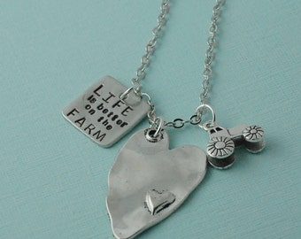 hand stamped tractor necklace / i love my farmer / farmers wife