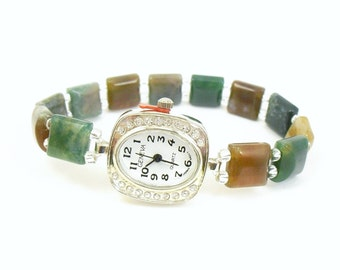 Petite Fancy Jasper Stretchy Watch with Rhinestone Studded  Watch Face