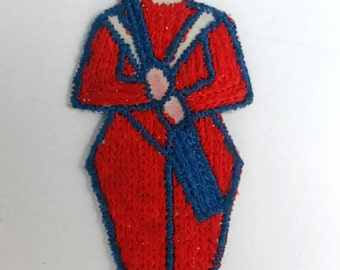 VINTAGE HANDMADE APPLIQUE patch, French soldier, Le Grande Armee, Napoleonic soldier, 1950s accessory, Betty Draper chic, embroidered art