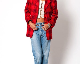 The Vintage Escada Red Plaid Blazer Suit Jacket