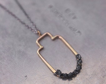 Sanctuary Diamond in the rough...rough black diamond necklace in 14k goldfill and sterling silver