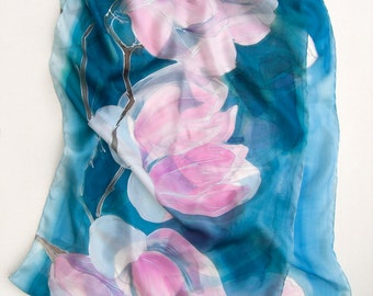 Pink Magnolia Silk Scarf. Hand Painted scarf shawl. Petroleum Blue scarf with floral motives. Long floral scarf Birthday gifts for her ooak
