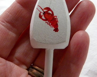 """Wedding Favor, Boutonniere, Maine Lobster Buoy, white with red lobster, 3"""" tall, hand painted"""