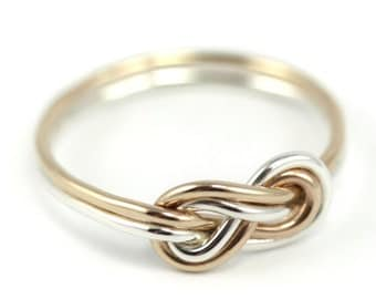 Double Infinity Knot Ring-  silver and gold ring, yellow gold-filled, 14k, infinity knot ring, delicate handmade ring