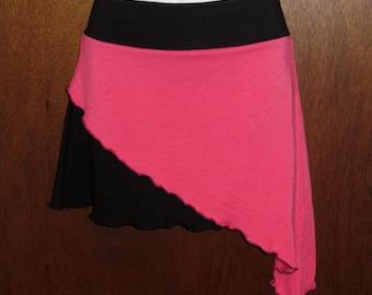 30% SALE Sz. MED Asymmetrical Double Layered Mini Skirt Black Bamboo - Hot Pink Modal Jersey Knits Eco Friendly Sz. Medium Organic Carnival