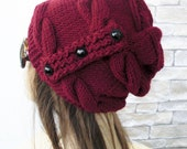 Slouchy Hat  Winter Hat Knit hat -  Womens Hat  Burgundy Marsala red Slouchy Beanie - Warm Soft  Gift for her Winter accessories fashion