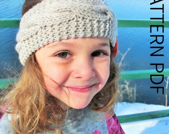 Braided Headband Knitting PATTERN Instant Download  downloadable pattern  Toddler Child  Adult  Sizes    3 Sizes  PDF  Cable Knit   headband