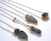 Druzy Arrow necklace with moonstone beads and gold filled chain