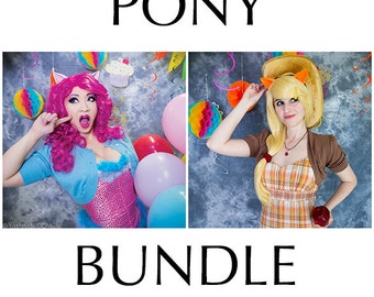Pony Bundle (Wig and Pony Ears) - for Cosplay, Parties, Clubbing, Cons, Fun, Halloween Costume