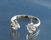 Herkimer Diamond Ring, Adjustable Open Ring, Crystal Quartz Gift