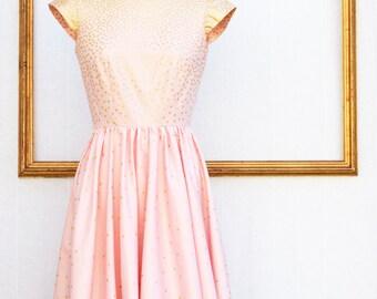 pink and gold polka dot dress - womens retro clothing
