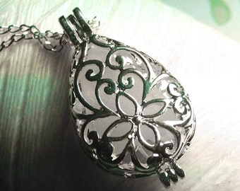 Worry Locket - white seaglass teardrop locket / beachglass necklace / silver locket / locket necklace / seaglass jewelry / seaglass necklace