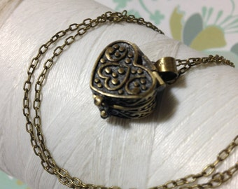 HALF PRICE OFF - Worry Locket - heart memory box / prayer box / keepsake locket / heart locket / heart necklace / seed necklace