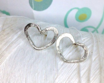 Forged Sterling - Heart Studs / silver heart earrings / open heart earrings / hammered earrings / heart earrings / heart jewelry