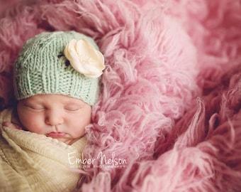 Knitting PATTERN - Diamondwork Beanie, newborn size, baby photography prop, baby shower gift, PDF instant download