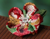 Fabric flower brooch, Japanese, plum blossom, tsumami zaiku, kanzashi, red, green, white, gold, Christmas pin, UK, handmade