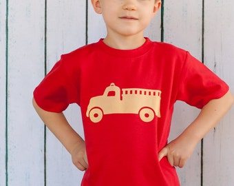 Vintage Fire Truck, Fire Engine, toddler kids shirt tee, Red or Navy sizes 12m to 6y
