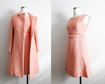 1950s Peachy Pink Dress & Matching Coat
