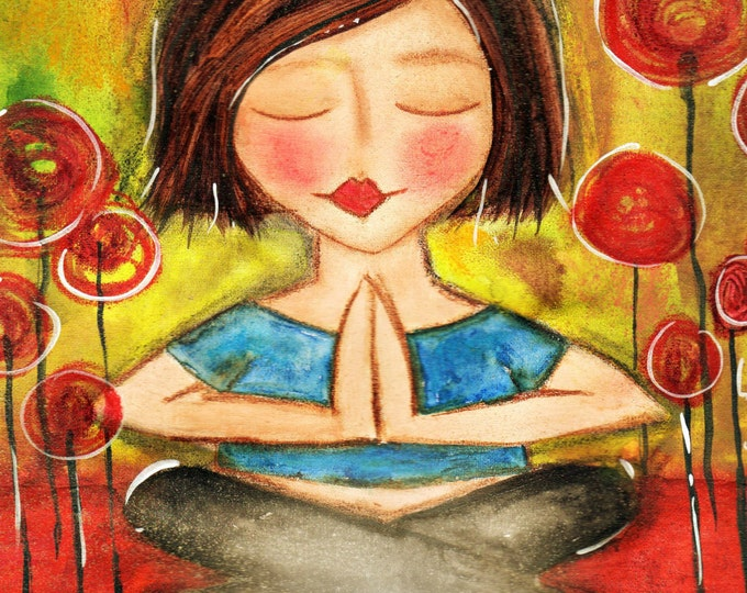 Featured listing image: Love and Light to you NAMASTE yoga Art Card