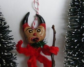 Vintage Style Naughty Krampus Feather Tree Folk Art Holiday Christmas Ornament