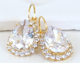 Beautifully Faceted Cubic Zirconia Teardrops Framed with Halo CZs on Gold Lever Back Earrings