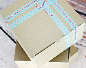Set of 12 Kraft Tabbed Treat Boxes Box 6x6x4 for Favors, Weddings, Showers, Party, Parties, or Gifts