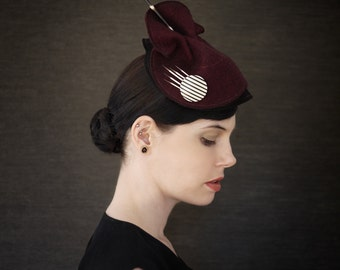 Burgundy Sculptural Felt Hat - Dangerous Attraction Series - Made to Order
