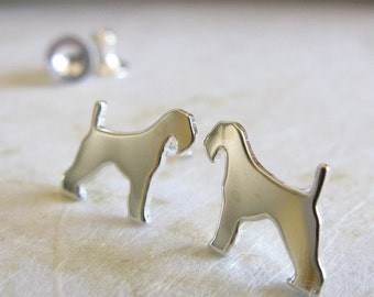 Airedale terrier stud earrings. Sterling silver, 14k gold filled or solid 14k yellow gold. Simple jewelry. Dog lover. Silhouette minimalist