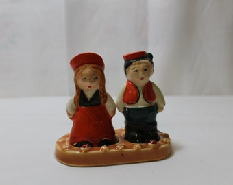 Vintage Ceramic Boy & Girl Salt, Pepper Shakers, Pioneer Mdse. Co. NY, Made in Japan
