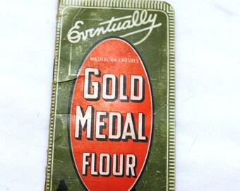 SALE Antique Gold Medal Flour Advertising Pocket Notebook, 1916 1917 Calendars