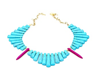 Turquoise Necklace, STATEMENT Necklace, Goddess Necklace, Cleopatra Necklace, Collar Necklace, Bib Necklace, High Fashion by Mei Faith