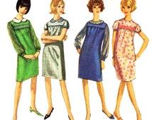 Teen Dress Pattern Simplicity 6299 Babydoll Shift Dress Simulated Smocking Peter Pan Collar | Vintage Teen Sewing Pattern Size 10
