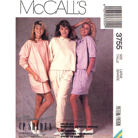 1980s Casual Loose Tops Skirt Pants Sewing Pattern McCalls 3755 Womens Size 18 20