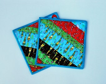 Cotton Quilted Potholders snackmats Crazy Christmas set of two foodie wedding gift Quiltsy Handmade