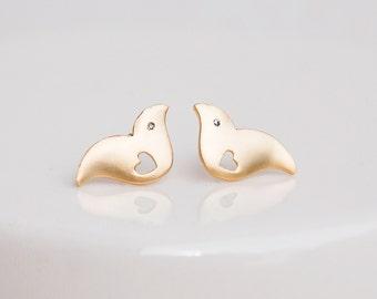Gold Bird Earrings, Love Bird Earrings, Bird Earrings, Bird Stud Earrings, Gold Heart Earrings, Mama Bird Earrings, Gold Earrings