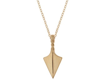 Arrow Point Talisman Necklace in Brass with Gold Fill Chain