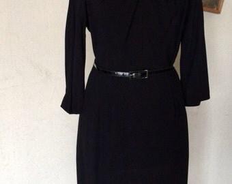 1950s Little Black Dress - Kay Allison - Classic Traditional Style - Plain Proper - Modest Dressy Dress - Plus Size Vintage - 44 Bust